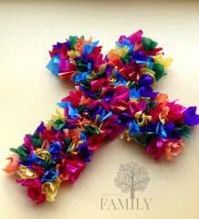 tissue cross Christmas craft