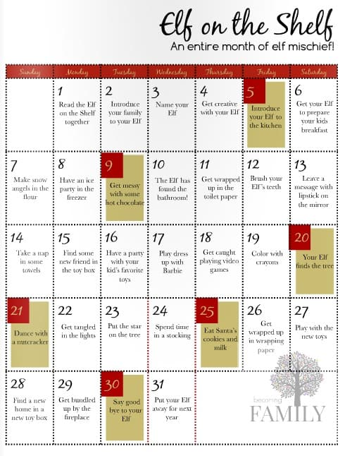 elf on a shelf calendar ideas