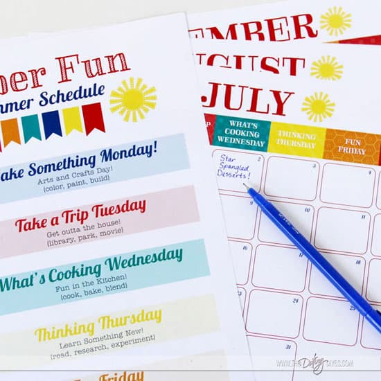 Summer Activities for Kids - Printable Summer Schedule to help keep track.