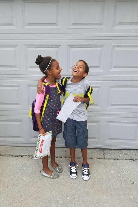 Twins First Day of School Cat & Jack