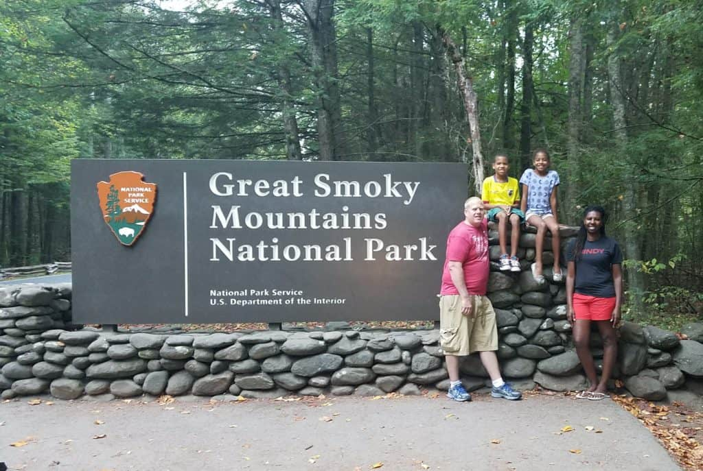 Our family pic at the Smoky Mountains National Park Sign