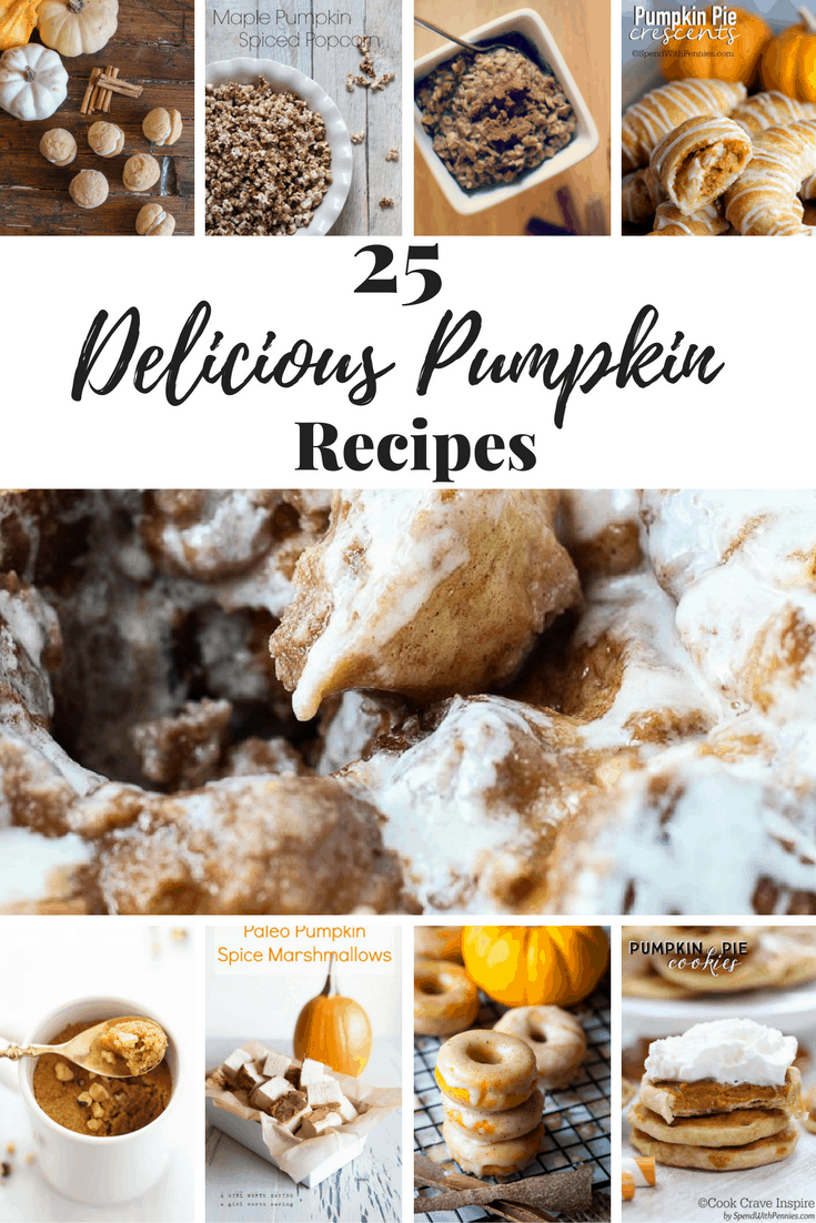 Pumpkin recipes to try this season. There is pumpkin monkey bread, pumpkin cookies, pumpkin bread, pumpkin dip and other variations of pumpkin. Great for holiday party coming up (and Halloween too!)
