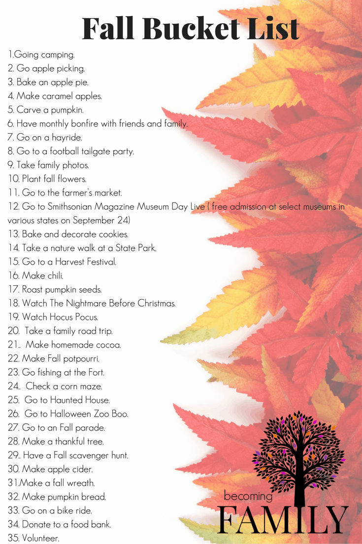 Be inspired this Fall with this Family Bucket List.