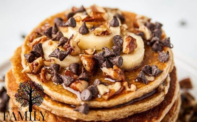 Pancakes with Bananas, Pecans and chocolate chips with syrup